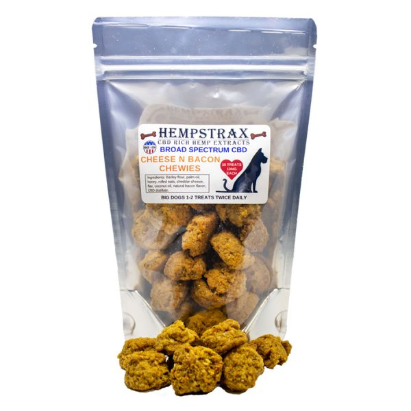 cheese and bacon hemp dog treats