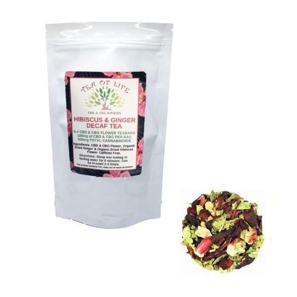 Hempstrax Decaf Hibiscus & Ginger Tea